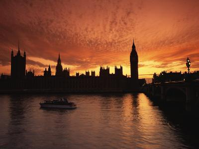 Sunset Over the Houses of Parliament, Unesco World Heritage Site, Westminster, London-Roy Rainford-Photographic Print