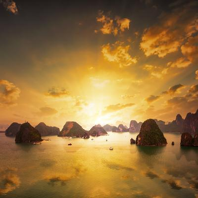 Sunset over the Islands of Halong Bay in Northern Vietnam. Amazing Landscape Background-Banana Republic images-Photographic Print