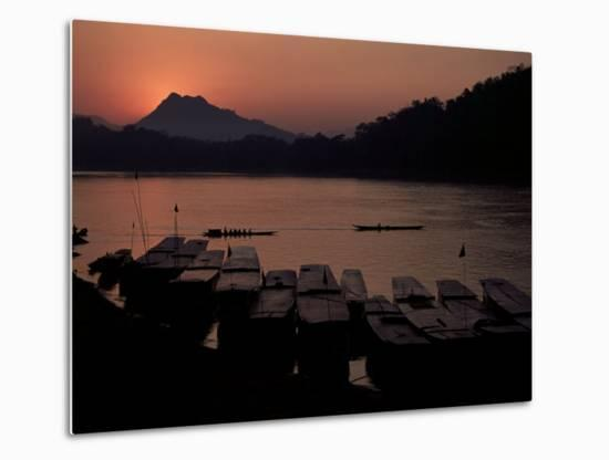 Sunset over the Mekong River, Luang Prabang, Laos, Indochina, Southeast Asia-Mcconnell Andrew-Metal Print