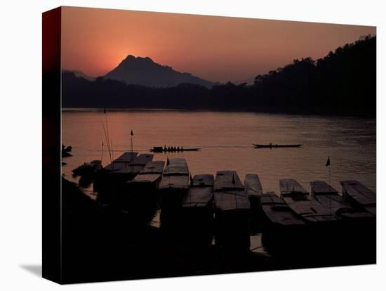 Sunset over the Mekong River, Luang Prabang, Laos, Indochina, Southeast Asia-Mcconnell Andrew-Stretched Canvas Print
