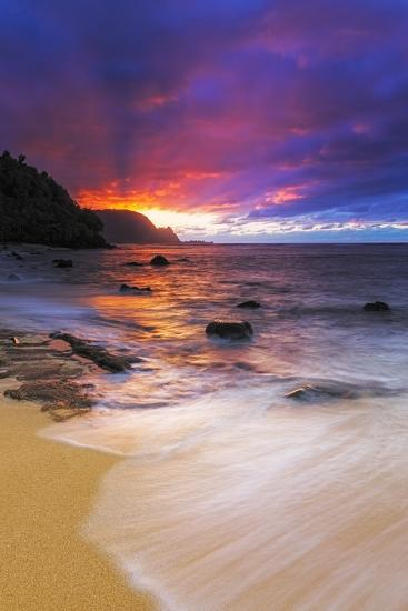 Sunset over the Na Pali Coast from Hideaways Beach, Princeville, Kauai, Hawaii, USA-Russ Bishop-Premium Photographic Print