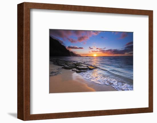 Sunset over the Na Pali Coast from Ke'e Beach, Haena State Park, Kauai, Hawaii, USA-Russ Bishop-Framed Photographic Print