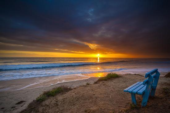 Sunset over the Pacific Ocean in Carlsbad, Ca-Andrew Shoemaker-Photographic Print