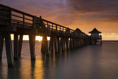 Sunset over the Pier and Gulf of Mexico, Naples, Florida, Usa-Brian Jannsen-Photographic Print