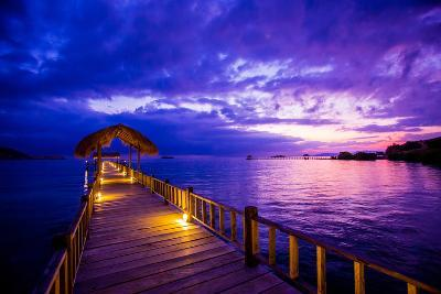 Sunset over the Pier, Hotel Seraya, Flores Island, Indonesia, Southeast Asia, Asia-Laura Grier-Photographic Print
