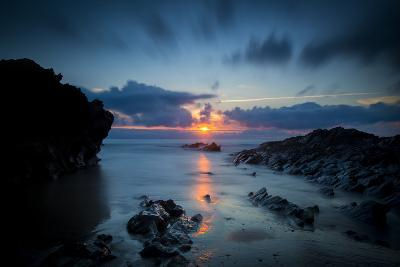 Sunset over the Rocks,Cornish Coast Near Newquay, Cornwall, England-Brian Jannsen-Photographic Print