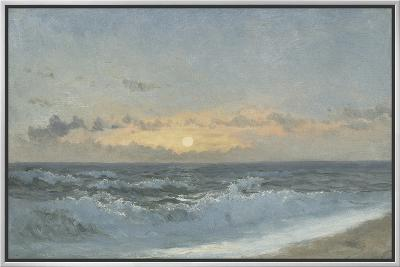 Sunset over the Sea, 1900 (Oil on Board)-William Pye-Framed Canvas Print