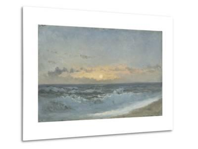Sunset over the Sea, 1900 (Oil on Board)-William Pye-Metal Print