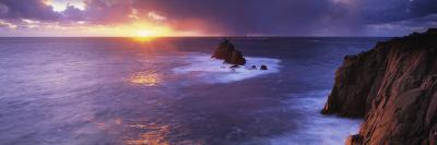 Sunset over the Sea, Land's End, Cornwall, England--Photographic Print