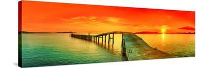 Sunset Over The Sea & Pier--Stretched Canvas Print