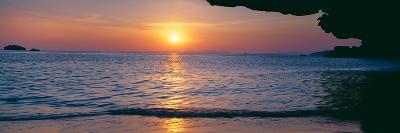 Sunset over the Sea, Railay Beach, Krabi, Krabi Province, Thailand--Photographic Print