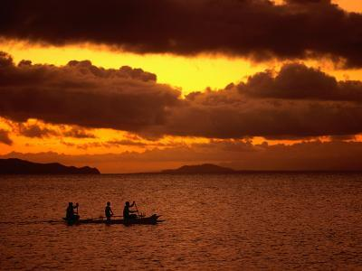 Sunset Over the Sea with an Outrigger in Silhouette, Upolu, Samoa, Upolu-Peter Hendrie-Photographic Print