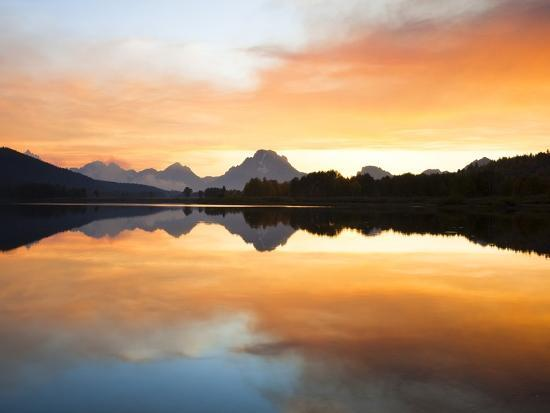 Sunset over the Snake River at Oxbow Bend-Frank Lukasseck-Photographic Print