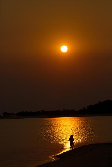 Sunset over the Tapajos River, Amazon, Alter Do Chao, Para, Brazil, South America-Alex Robinson-Photographic Print