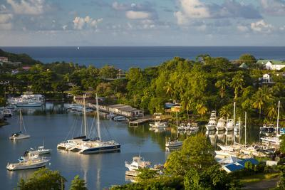 Sunset over the Tiny Harbor in Castries, St. Lucia, West Indies-Brian Jannsen-Photographic Print