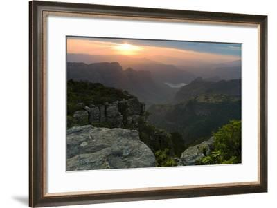Sunset over Three Rondavels Seen from Mariepskop Mountain, Limpopo Province, Mpumalanga Province, S-Morgan Trimble-Framed Photographic Print