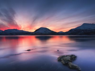Sunset over Tjeldsundet, Troms County, Norway-Stocktrek Images-Photographic Print
