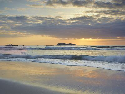 Sunset over Trinidad State Beach Near Eureka at Low Tide with Reflective Sand Patterns-Patrick Smith-Photographic Print