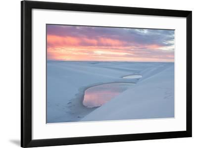 Sunset over Two Lagoons in Lencois Maranhenses National Park-Alex Saberi-Framed Photographic Print