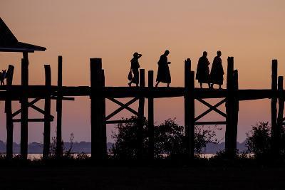 Sunset over U Bein Bridge, Taungthman Lake, U Bein, Amarapura, Myanmar (Burma), Asia-Nathalie Cuvelier-Photographic Print