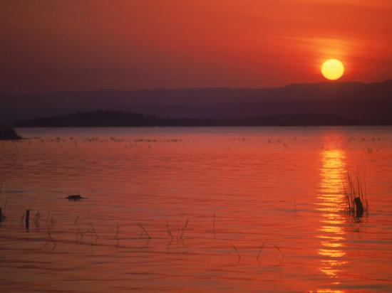 Sunset Over Water, Kenya-Mitch Diamond-Photographic Print