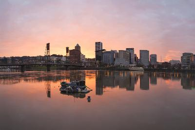 Sunset over Willamette River in Portland-jpldesigns-Photographic Print