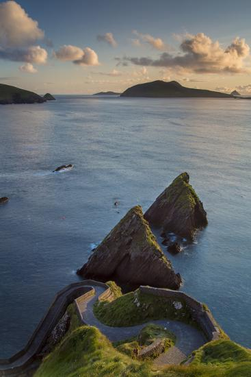 Sunset over Windy Road to Dunquin Harbor, Dunquin, County Kerry, Republic of Ireland-Brian Jannsen-Photographic Print