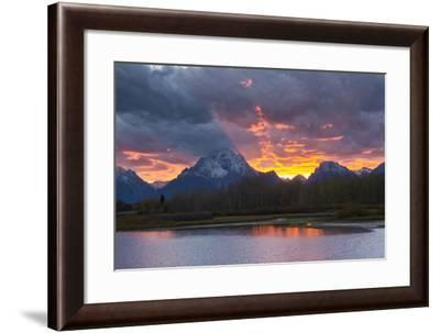 Sunset, Oxbow, Mount Moran, Grand Teton National Park, Wyoming, USA-Michel Hersen-Framed Photographic Print