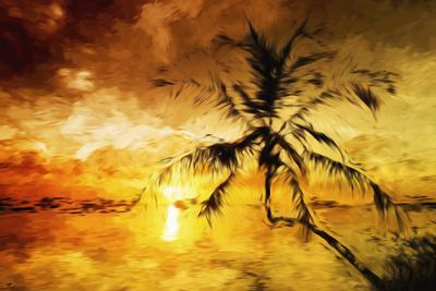 Sunset Palm I - In the Style of Oil Painting-Philippe Hugonnard-Giclee Print