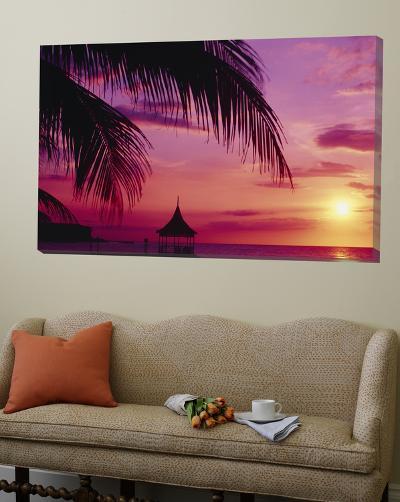 Sunset, Palm Trees, Beach, Water, Ocean, Montego Bay Jamaica--Loft Art