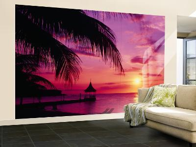 Sunset, Palm Trees, Beach, Water, Ocean, Montego Bay Jamaica--Wall Mural – Large