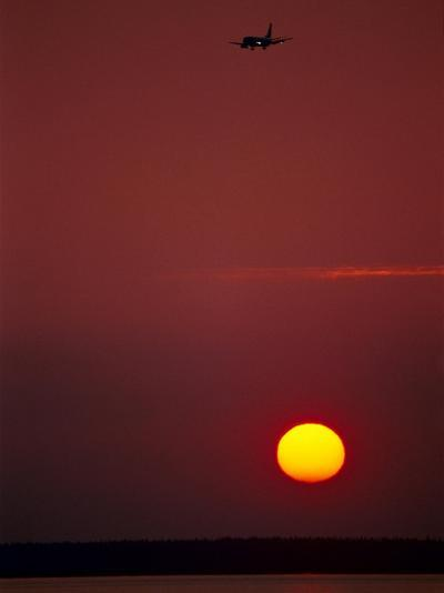 Sunset & Plane Over the Pacific Ocean-Hal Gage-Photographic Print