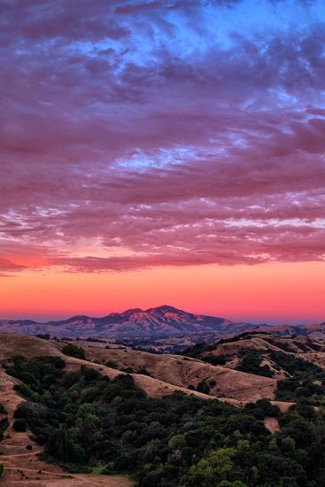 Sunset Red Skies Over Mount Diablo, Walnut Creek California-Vincent James-Photographic Print