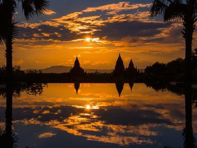 Sunset reflected in the infinity pool at Aureum Palace Hotel, Bagan, Mandalay Region, Myanmar--Photographic Print