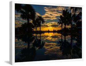 Sunset reflected in the infinity pool at Aureum Palace Hotel, Bagan, Mandalay Region, Myanmar