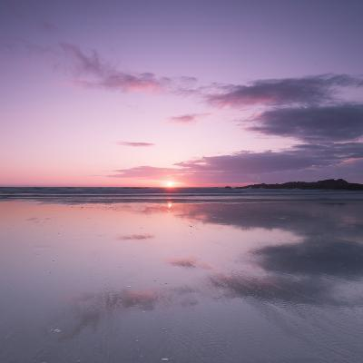 Sunset Reflected in Wet Sand and Sea on Crackington Haven Beach, Cornwall, England, UK, Europe-Ian Egner-Photographic Print