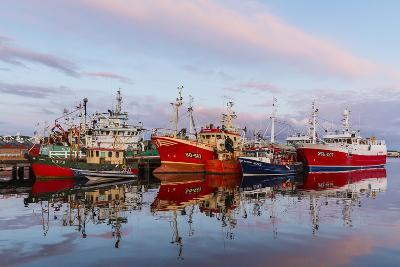 Sunset Reflected on the Commercial Fishing Fleet at Killybegs-Michael Nolan-Photographic Print