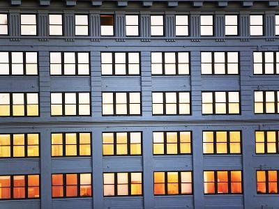 Sunset Reflection From Office Building Windows-Alan Schein-Photographic Print