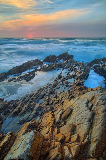 Sunset Seascape at Montaña de Oro--Photographic Print