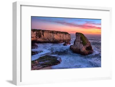 Sunset Seascape, Shark Fin Cove, Davenport, Santa Cruz, Pacific Ocean-Vincent James-Framed Photographic Print
