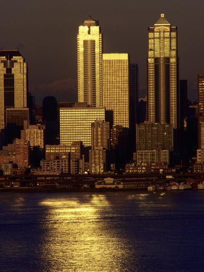 Sunset, Seattle Skyline, Reflections, Elliott Bay-Jim Corwin-Photographic Print