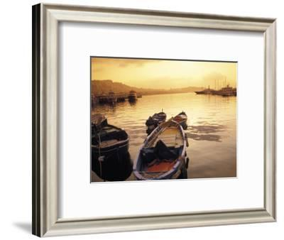 Sunset Setting over Two Boats at a Fishing Harbour and Marina on the Bay of Naples in Naples, Italy-Richard Nowitz-Framed Photographic Print
