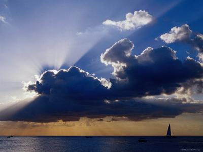Sunset Shining through Clouds, Isla Cozumel, Quitana Roo, Mexico-Richard Cummins-Photographic Print
