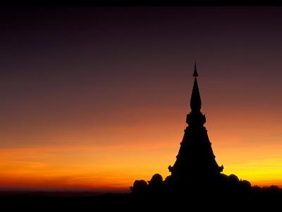 Sunset Sillouhette of Buddhist Temple, Thailand-John & Lisa Merrill-Photographic Print