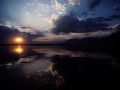 Sunset Sky Filled with Clouds is Reflected in the Water-Sam Abell-Photographic Print