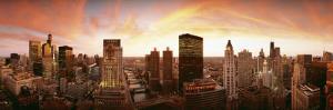 Sunset Skyline Chicago Il, USA