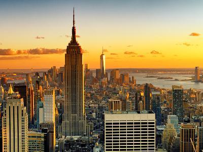 Sunset Skyscraper Landscape, Empire State Building and One World Trade Center, Manhattan, New York-Philippe Hugonnard-Photographic Print