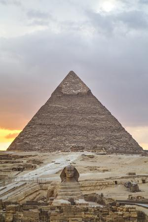 Sunset, Sphinx in Foreground and the Pyramid of Chephren, the Pyramids of Giza-Richard Maschmeyer-Photographic Print