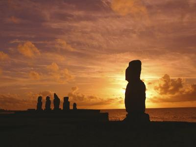 Sunset, Tahai Archeological site, Easter Island, Chile-Douglas Peebles-Photographic Print