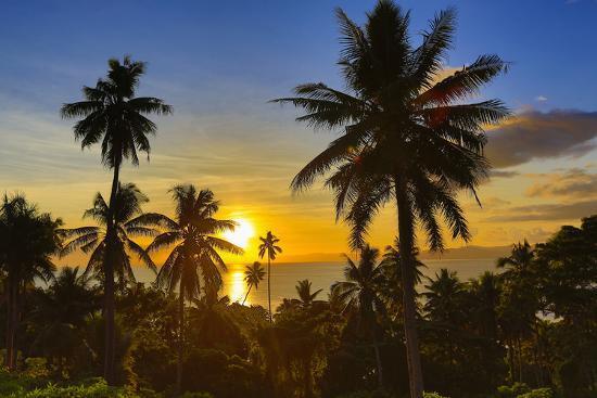 Sunset, Taveuni, Vanua Levu in Background, Fiji-Douglas Peebles-Photographic Print